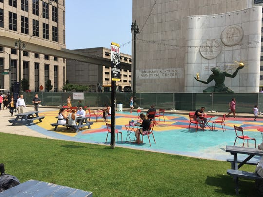 Spirit Plaza outside Detroit's Coleman A. Young Municipal Center as photographed on Thursday, July 25, 2019.