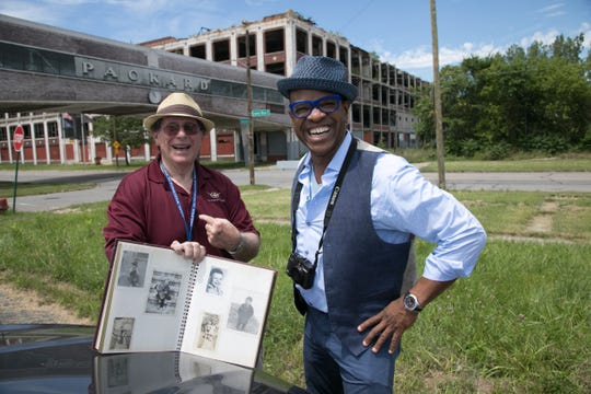 """Host Thomas Allen Harris visits the site of the old Packard plant in Detroit with Arthur Kirsh, who shared images from his family photo album for """"Family Pictures USA."""""""