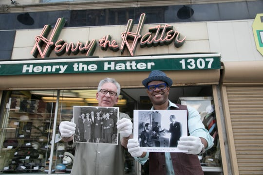 Thomas Allen Harris in Detroit with Paul Wasserman, the owner of America's oldest hat retailer, Henry the Hatter.