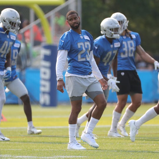 Lions defensive back Darius Slay stretches before practice in training camp on Thursday, July 25, 2019, in Allen Park.