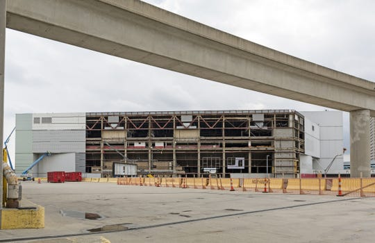 Demolition continues on Joe Louis Arena in Detroit, Mich., Wednesday, July 3, 2019.