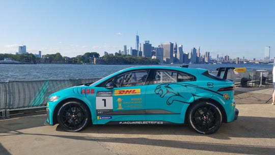 The Jaguar I-Pace eTrophy races took place in Brooklyn in the shadow of the Manhattan skyline. The quiet race cars are a good fit for the inner city.