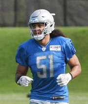 Lions rookie linebacker Jahlani Tavai has spent much of training camp working with the first-team defense.