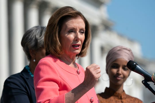 Speaker of the House Nancy Pelosi, D-Calif., and the Democratic Caucus hold an event on the House steps to highlight their agenda since taking the majority in the 2018 election, at the Capitol in Washington, Thursday, July 25, 2019. The House leaves for a five week August recess Friday.