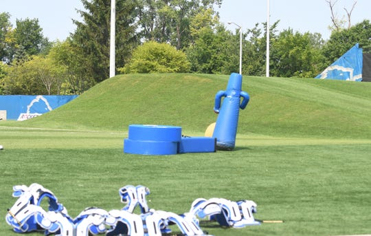 New to the Lions' training camp in Allen Park is a hill at one end of the practice field.