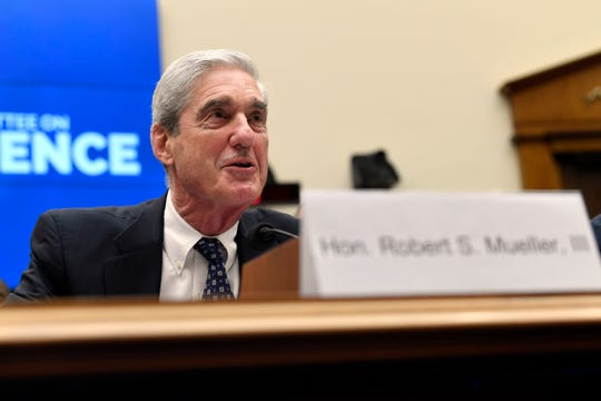 Former special counsel Robert Mueller testifies before the House Intelligence Committee on Capitol Hill in Washington, Wednesday, July 24, 2019, during a hearing on his report on Russian election interference.