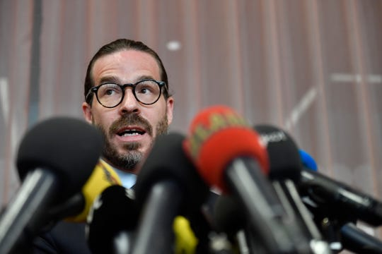Counselor Slobodan Jovicic comments at a press conference on the case of U.S. rapper A$AP Rocky, real name Rakim Mayers, in Stockholm, Sweden, Thursday,  July 25, 2019.