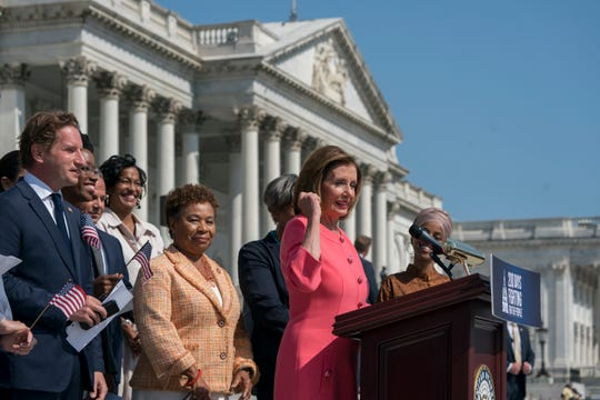 Speaker of the House Nancy Pelosi, D-Calif., and the Democratic Caucus hold an event on the House steps to highlight their agenda since taking the majority in the 2018 election, at the Capitol in Washington, Thursday, July 25, 2019.
