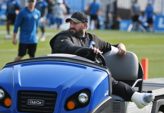 Lions coach Matt Patricia, recovering from leg surgery, watches practice in Allen Park . While training camp might not look much different than his rookie campaign that inspired discontent among veterans, he's solicited feedback from team leaders.