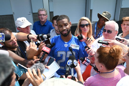 Lions cornerback Darius Slay talks with the media after practice Thursday concerning his contract with Detroit.