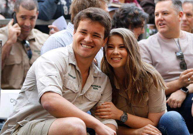 Chandler Powell, left, and Bindi Irwin at a ceremony honoring the late Steve Irwin with a star on the Hollywood Walk of Fame in Los Angeles.