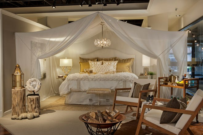 A glamping vignette captures the spirit of the popular trend that adds glam to the concept of camping.