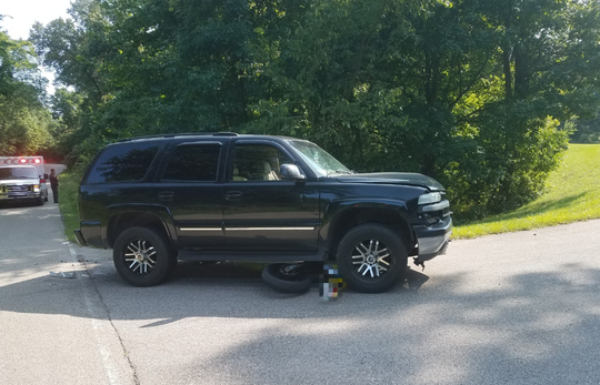 The scene of an accident involving a motorcycle and an SUV Wednesday afternoon, July 24, 2019, in northern Vanderburgh County.