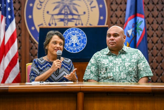 Gov. Lou Leon Guerrero, left, said Guam residents are eligible for Federal Pandemic Unemployment Compensation, which provides $900 to eligible workers impacted by the coronavirus.