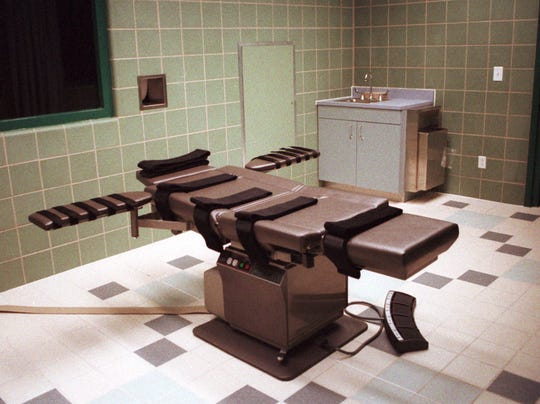 The death chamber at the U.S. Penitentiary in Terre Haute Ind. shown in this April 1995 file photo.