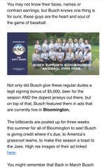 A screenshot of the winning announcement of Bloomington's Dirty Dozen softball team.
