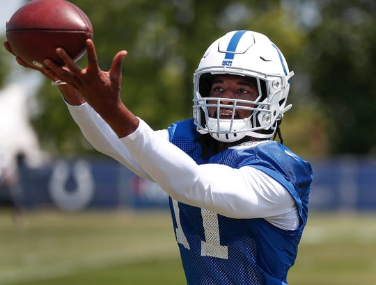 Indianapolis Colts wide receiver Deon Cain (11) during the first day of their preseason training camp at Grand Park in Westfield on Thursday, July 25, 2019.