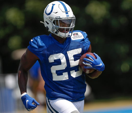 Indianapolis Colts running back Marlon Mack (25) during the first day of their preseason training camp at Grand Park in Westfield on Thursday, July 25, 2019.