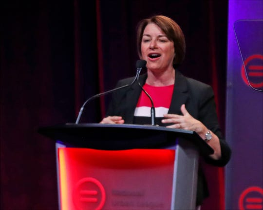 Minnesota Senator Amy Klobuchar addresses the National Urban League Conference in Indianapolis on Thursday, July 25, 2019.