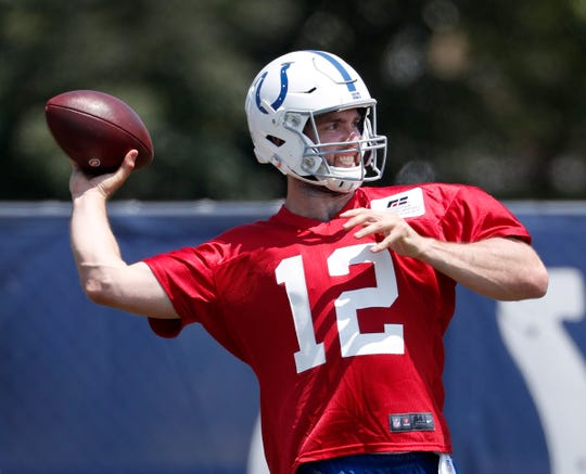 Indianapolis Colts quarterback Andrew Luck (12) during the first day of their preseason training camp at Grand Park in Westfield on Thursday, July 25, 2019.