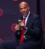 Presidential candidate Cory Booker speaks at the National Urban League conference at the Indiana Convention Center, Thursday, July 25, 2019.