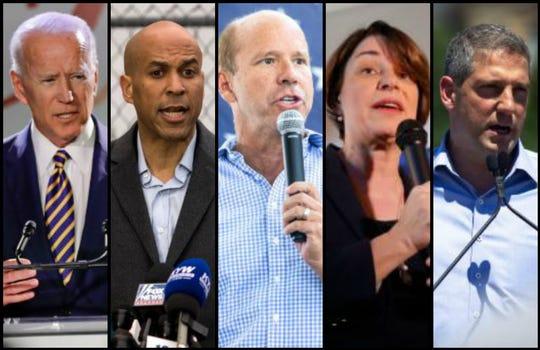 Joe Biden, Cory Booker, John Delaney, Amy Klobuchar and Tim Ryan are seeking the Democratic nomination for president in 2020.
