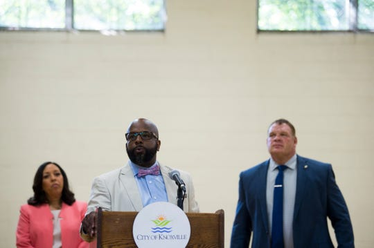 State Rep. Rick Staples, D-Knoxville, speaks at a ceremony dedicating a bridge to the three victims of a 2014 school bus crash, at Milton Roberts Recreation Center, Thursday, July 25, 2019.