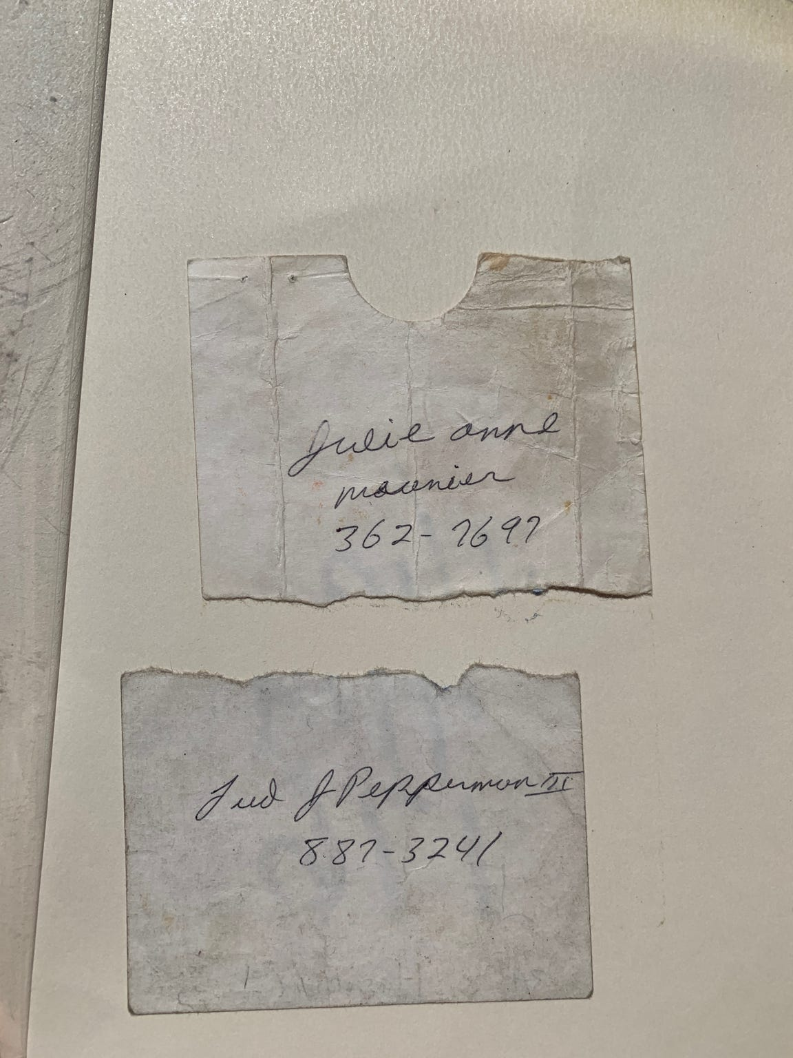 When Fred and Julie Pepperman met in 1987, they wrote their phone numbers on the blank side of a parking permit and tore it in half. Going through boxes three years later, they found out they'd both kept their halves. Now Julie keeps them in a photo album.