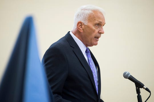 Knox County Schools Superintendent Bob Thomas speaks at a ceremony dedicating a bridge to the three victims of a 2014 school bus crash, at Milton Roberts Recreation Center, Thursday, July 25, 2019.