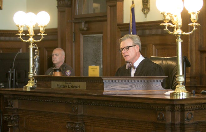 Judge Matthew Stewart, 35th Judicial District Judge, addresses the issue of who will pay what for the retrial of Jerome Kowalski in the Shiawassee County Courthouse Thursday, July 25, 2019.