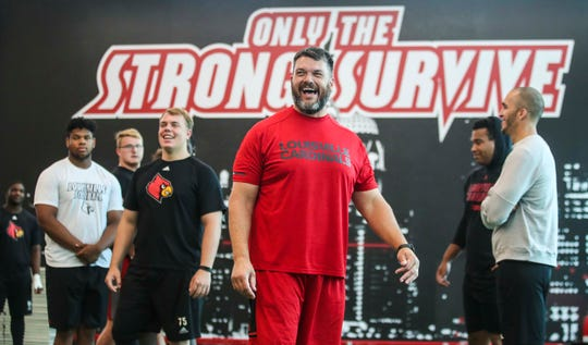 "Louisville's offensive line coach Dwayne Ledford strives for an effective offensive line but says it starts with his relationships with his players. ""To me in the offensive line room there has to be a certain demeanor about it,"" said Ledford, a former NFL player. ""To me running the football is just an attitude that the room has to have. You can't do any of that until your relationships are right with the kids.""   July 25, 2019"