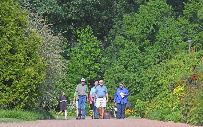 Judges from America in Bloom toured Kingwood Garden on Thursday.