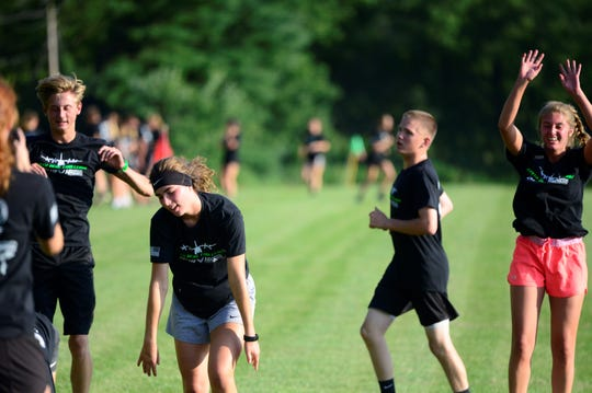 Members of the Clear Fork boys and girls soccer teams participate in Wednesday's Herc Challenge.