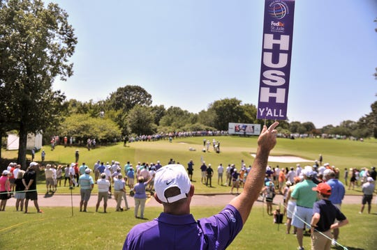 The HUSH Y'ALL signs got a makeover this year at the WGC FedEx St. Jude Invitational and were spotted on every corner of TPC Southwind during the first round of the tournament.