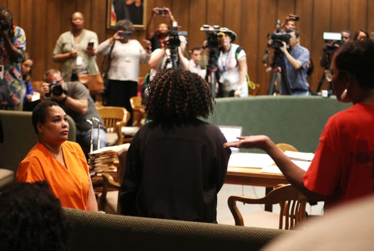 Deborah Marion addresses Sherra Wright after Wright's guilty plea in the murder of Marion's son, Lorenzen Wright, on Thursday, July 25, 2019, in Memphis.