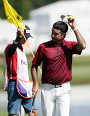 Bubba Watson finishes up his 5-under par first round of the World Golf Championships FedEx St. Jude Invitational at TPC Southwind on Thursday, July 25, 2019.