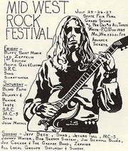 One of the posters promoting the Midwest Rock Festival, held at the State Fair Park Grandstand on July 25-27, 1969.