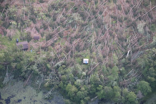 Thousands of trees, including these shown in an aerial photo in north central Wisconsin, were blown down in severe storms July 19 and 20.