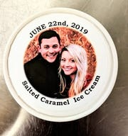 The Chocolate Chisel provided a bride and groom with custom printed pints of salted caramel ice cream for their guests.