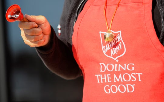 The Salvation Army bell ringers will be at the Montgomery Biscuits game on Saturday.