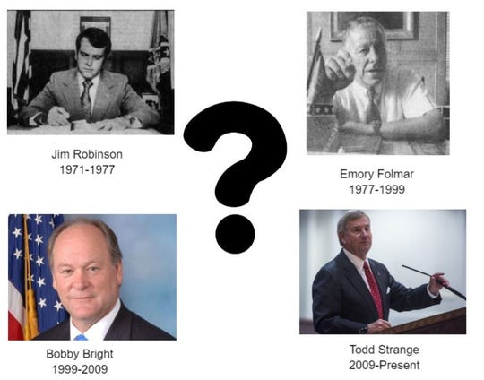 A collage of Montgomery's mayors since the mayor-council system was introduced in 1975.