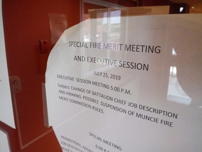 A meeting notice for the Fire Merit Commission was still tape to the door of city hall on Thursday. Members of the commission confirmed the meeting was canceled, the second special meeting to be canceled so far.