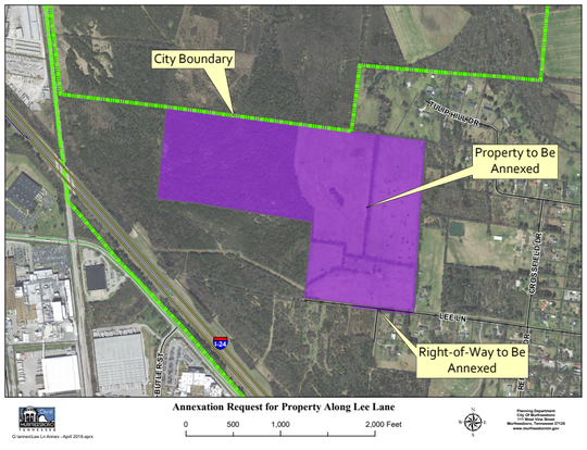 This map shows in purple a proposed annexation of 85 acres for heavy industrial zoning  on Lee Lane near Elam Road south of Murfreesboro's existing boundary.