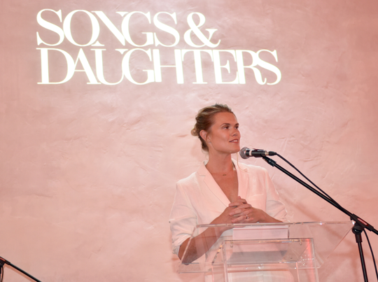 Nicolle Galyon speaks at a launch party for Songs & Daughters, Nashville's first female-focused record label.