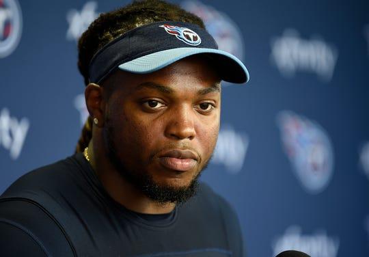 Titans running back Derrick Henry addresses the media during a press conference at Saint Thomas Sports Park Thursday, July 25, 2019, in Nashville, Tenn.
