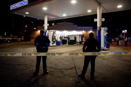Metro Nashville Police respond to a fatal shooting at the Marathon Marketat2801 John A. Merritt Blvd. in Nashville on July 24, 2019.