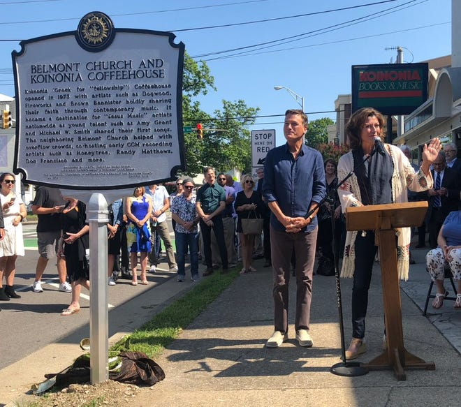 Nashville commemorated Belmont Church and Koinonia Coffeehouse with a historic marker on July 25, 2019. Singers Amy Grant, right, and Michael W. Smith addressed the crowd.