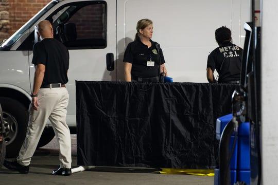 Metro Nashville Police respond to a fatal shooting at the Marathon Marketat2801 John A Merritt Blvd. in Nashville, Tenn., Wednesday, July 24, 2019.