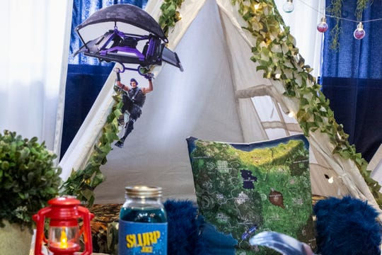 A themed teepee for boys sits in Gisselle Crespo's house on Thursday, July 25, 2019, in Golden Gate. Gisselle Crespo, the founder of Memorable Mobile Parties, began to offer themed teepee rentals for both boys and girls.