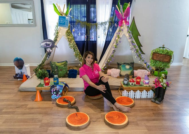 Gisselle Crespo, the founder of Memorable Mobile Parties, poses for a portrait with her themed teepees at her house on Thursday, July 25, 2019, in Golden Gate. Memorable Mobile Parties, which offers pre-packaged events planning and children entertainment services, began to offer themed teepee rentals for both boys and girls.